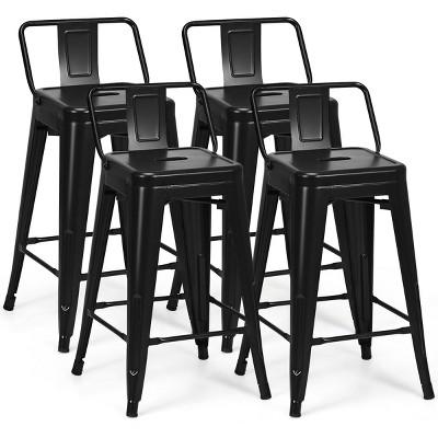 Costway Set of 4 Low Back Metal Counter Stool 24'' Seat Height Industrial Bar Stools GunBlack