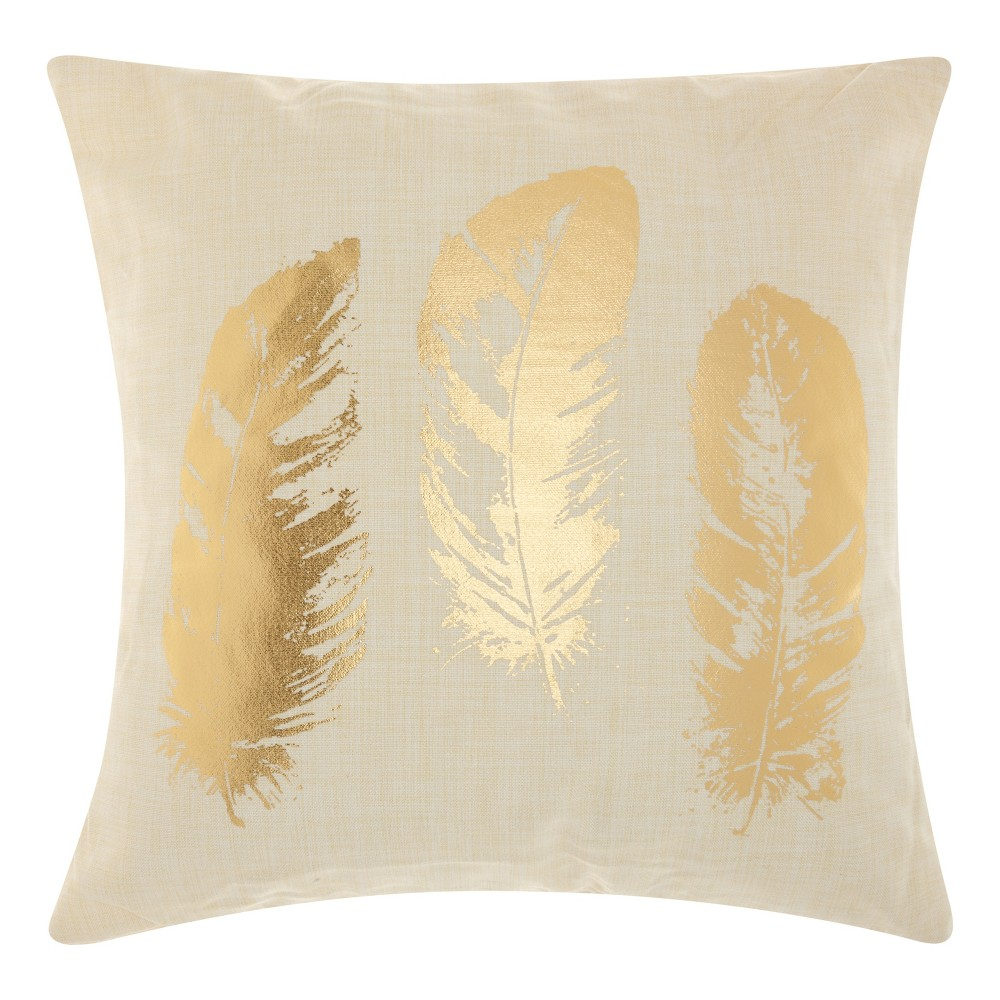 Image of Antique Gold Feather Throw Pillow - Mina Victory