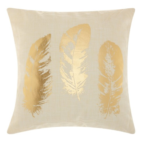 Antique Gold Feather Throw Pillow - Mina Victory - image 1 of 2