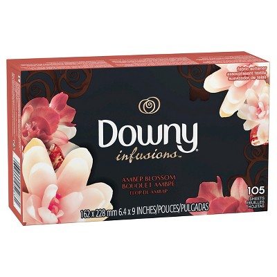 Downy Infusions Amber Blossom Fabric Softener Dryer Sheets - 105ct