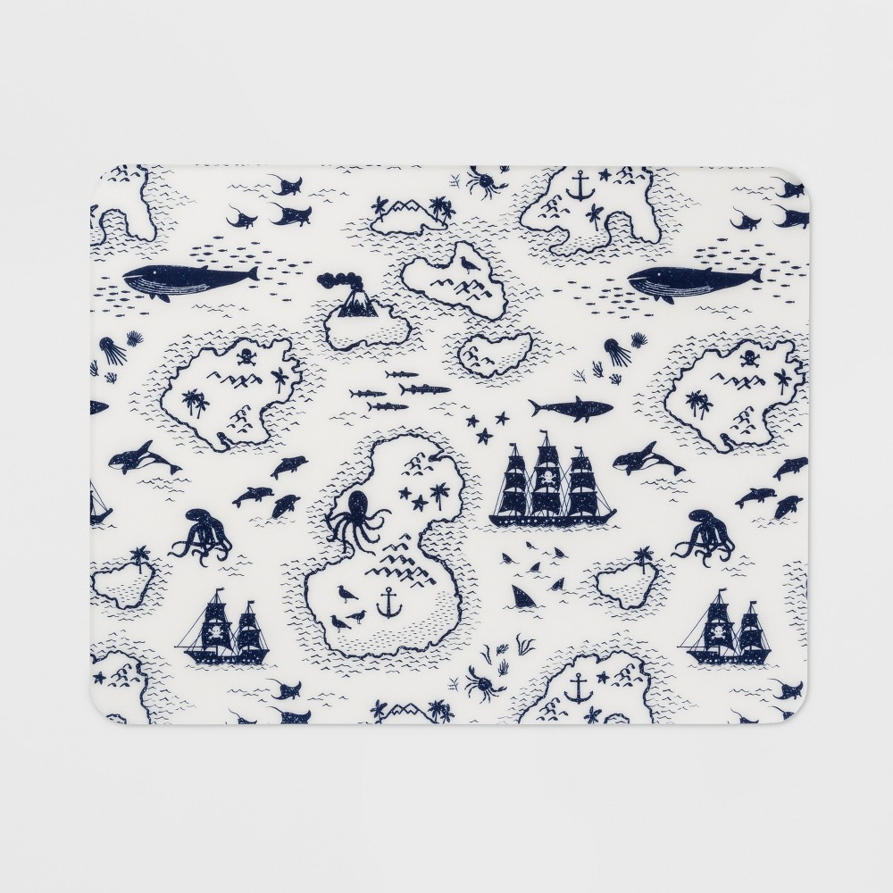 "Image of ""18""""x14"""" Map Placemat White/Blue - Pillowfort , White Blue"""