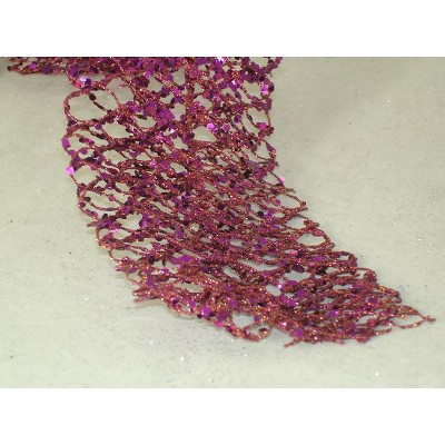 """Ganz 5' x 3.5"""" Unlit Purple Sugared Fruit Glittered and Wired Net Christmas Garland"""