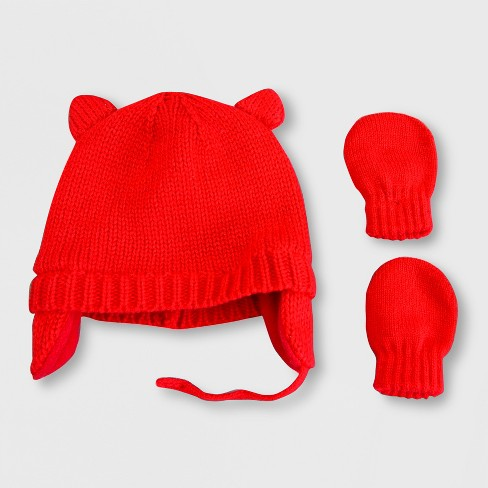 66633820f3f Baby Girls  Hat And Mitten Set - Cat   Jack™ Red   Target