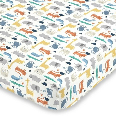 Carter's Colorful Modern Safari Animals Super Soft Mini Crib Fitted Sheet