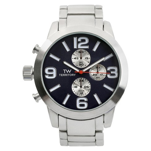 Men's Territory Ovesized Round Face Polished Metal Link Watch - image 1 of 3