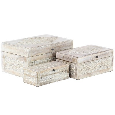 Set of 3 Natural Mango Wood Whitewashed Carved Design Boxes with Lid - Olivia & May