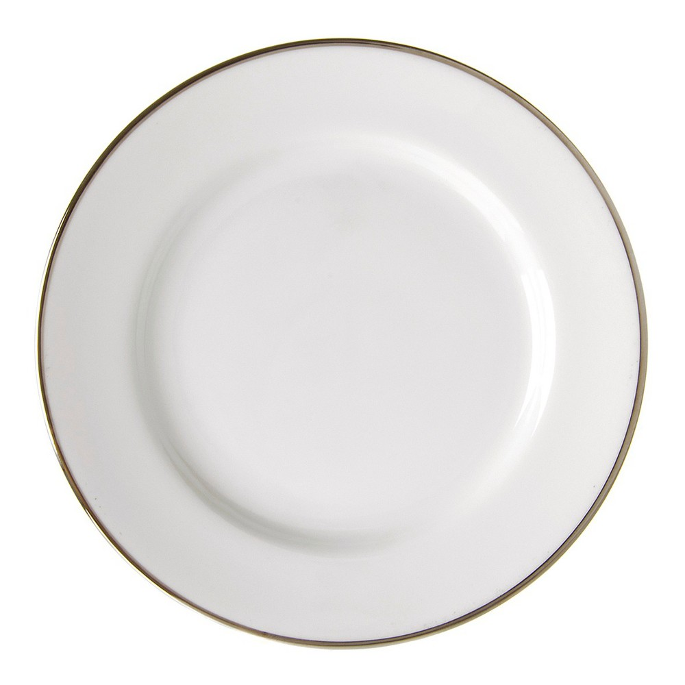"""Image of """"10 Strawberry Street Silver Line Porcelain Bread & Butter Plates White/Silver - 6.75""""""""x6.75"""""""" Set of 4"""""""