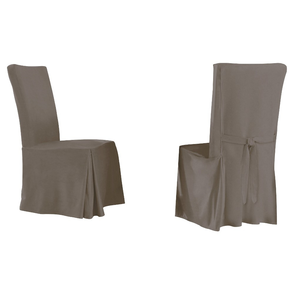 Image of 2pk Gray Relaxed Fit Smooth Suede Furniture Dining Chair Slipcover - Serta