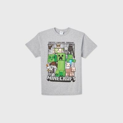Boys' Minecraft Short Sleeve Graphic T-Shirt - Gray