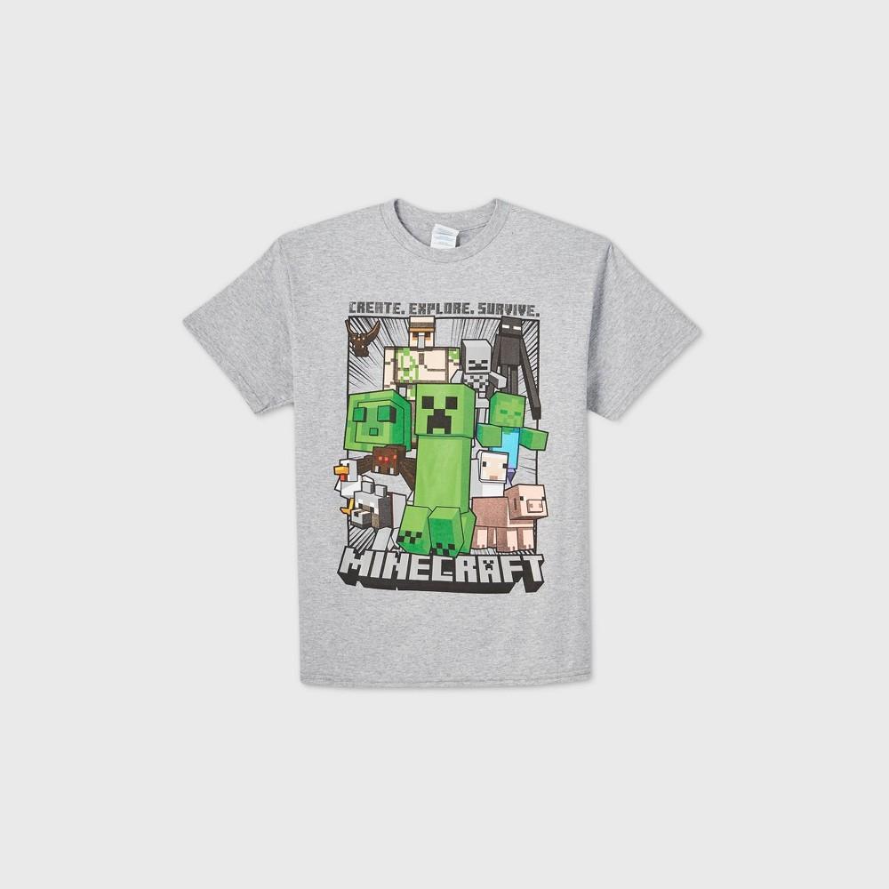 Boys 39 Minecraft Short Sleeve Graphic T Shirt Gray S