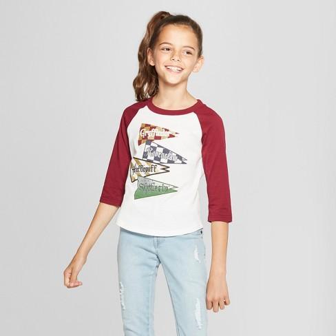 21b8ad3b1c3 Girls  Harry Potter 3 4 Sleeve Raglan T-Shirt - White Burgundy XS ...