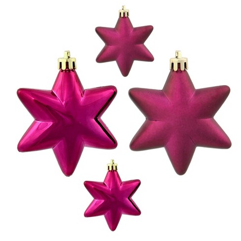 "Vickerman 36ct Matte & Shiny Eggplant Purple Star Shatterproof Christmas Ornaments 1.5""-2"" - image 1 of 1"