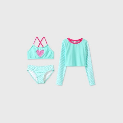 Girls' Long Sleeve Mermaid 3pc Bikini Set - Cat & Jack™ Aqua
