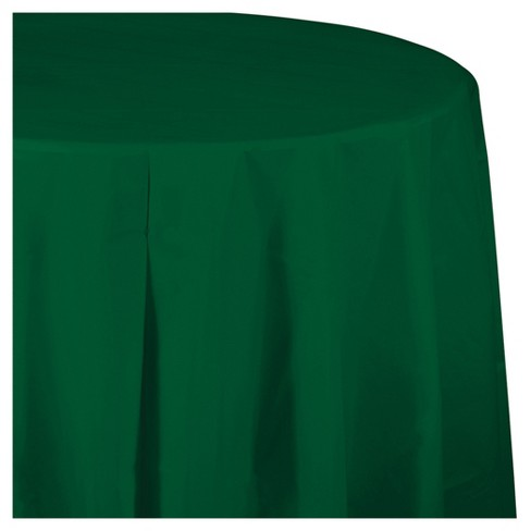 Hunter Green Round Plastic Tablecloth - image 1 of 3