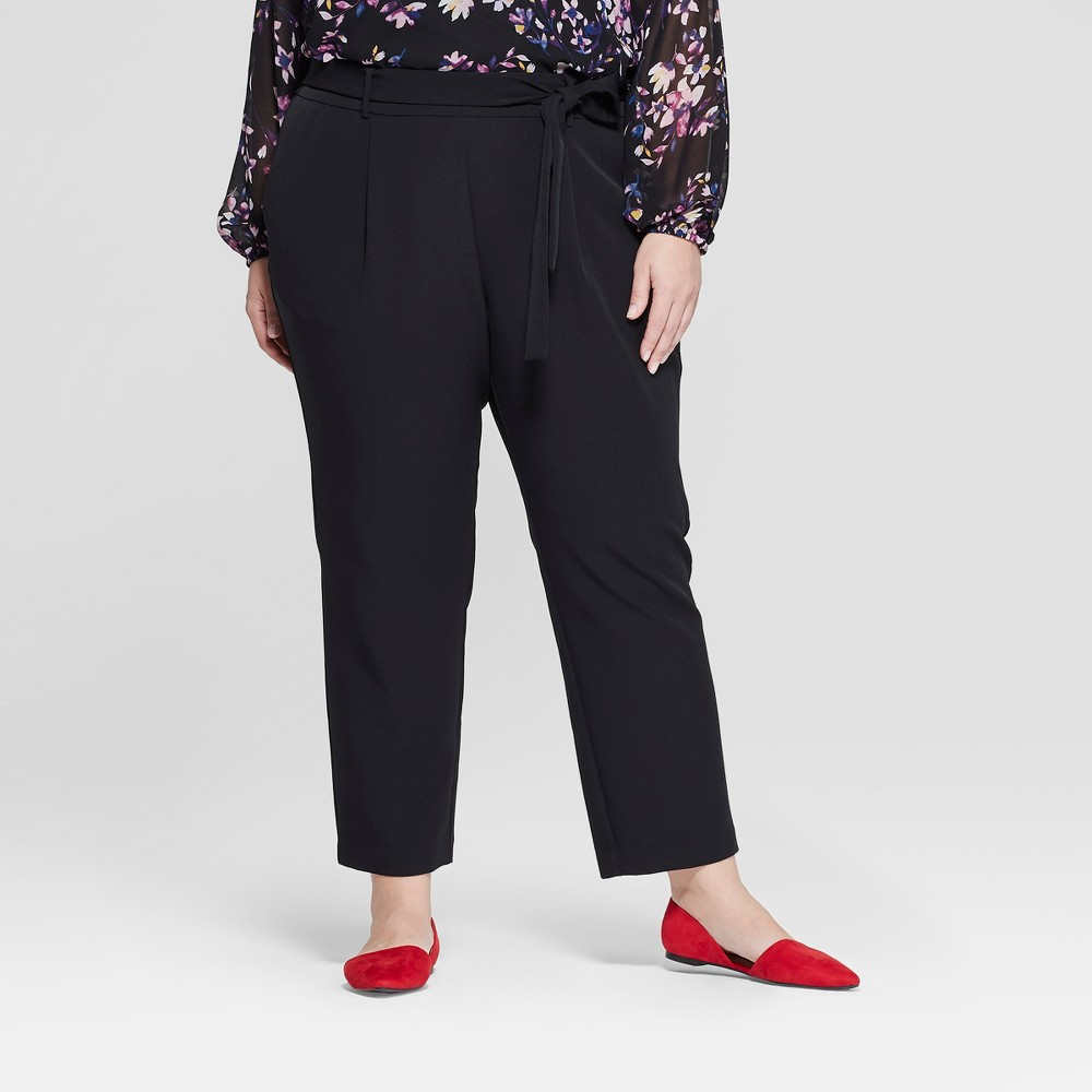 Women's Plus Size Tapered Ankle Pants with Belt - Ava & Viv Black 2X