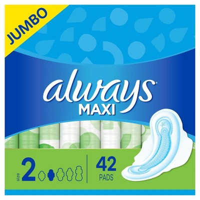 Always Maxi Pads Long Super Absorbency Unscented with Wings - Size 2 - 42ct
