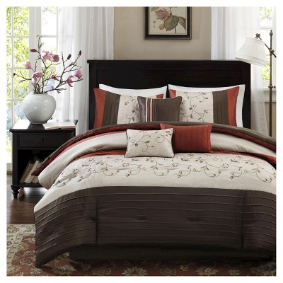 Monroe 7 Piece Comforter Set (Polyester w/ Embroidery- Spice (Queen)