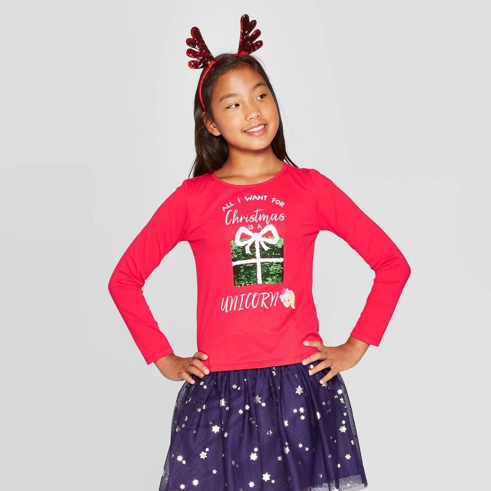 Image of Girls' Nickelodeon JoJo Siwa Christmas Holiday T-Shirt - Red L, Girl's, Size: Large