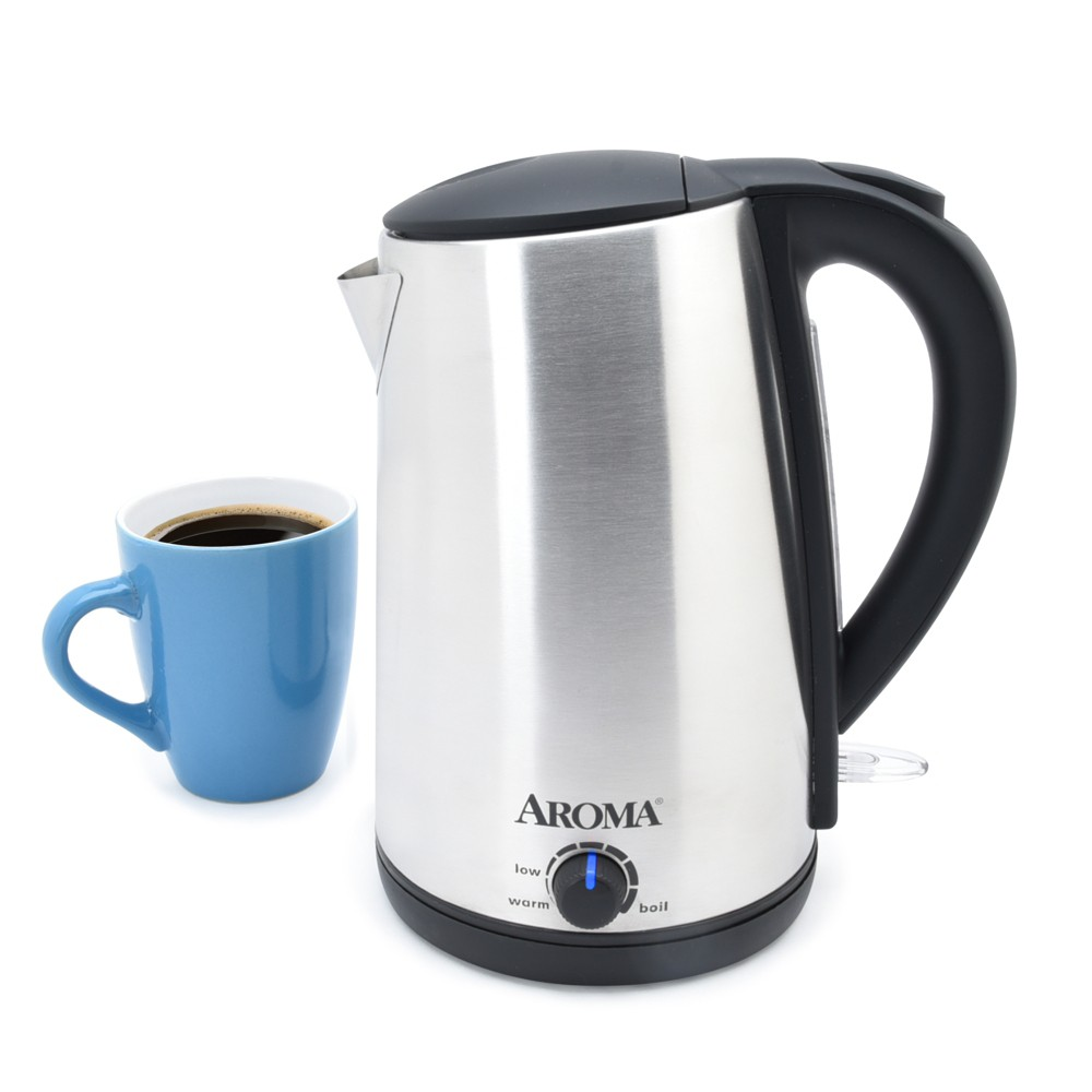 Image of Aroma 1.7L Electric Kettle - Stainless Steel, Silver