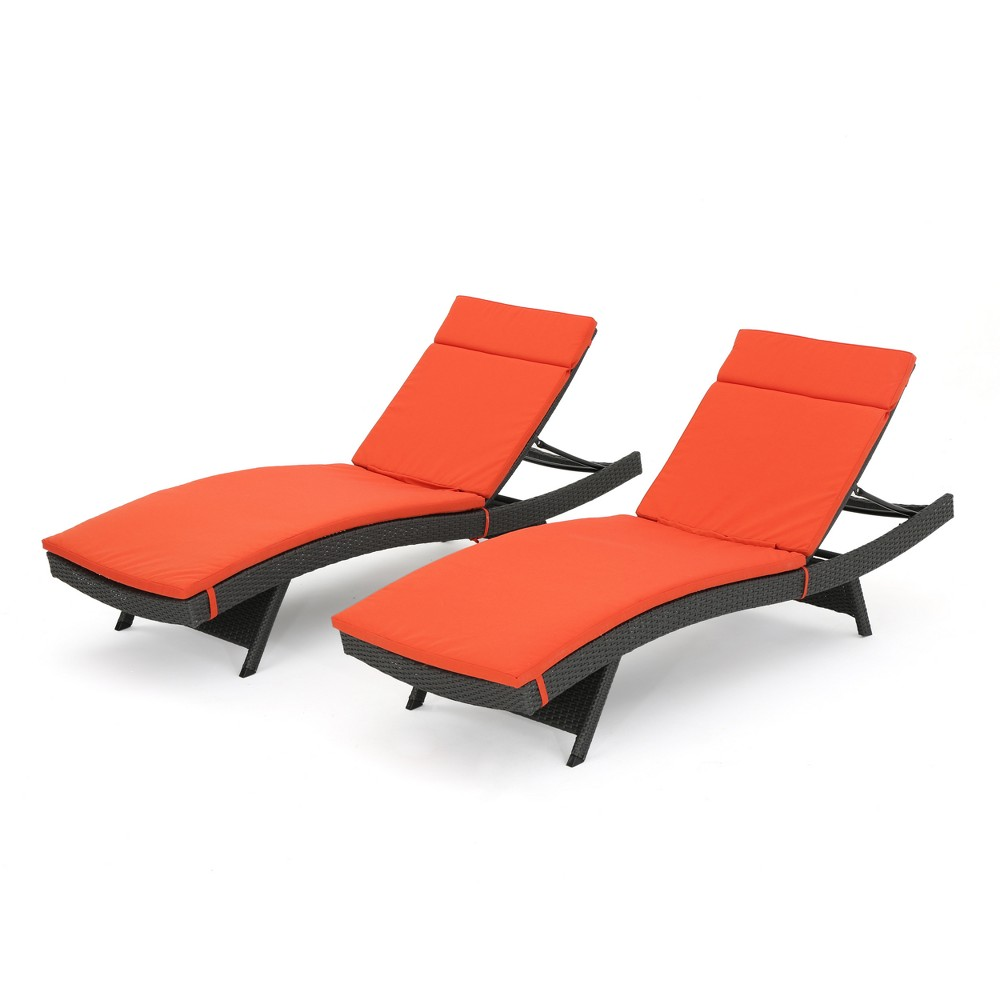 Salem Set Of 2 Gray Wicker Adjustable Chaise Lounge Orange Christopher Knight Home