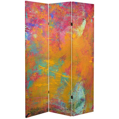 Oriental Furniture 6' Tall Double Sided Color Wheel Canvas Room Divider