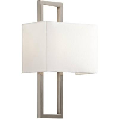 "Possini Euro Design Modern Wall Light Sconce Brushed Nickel Hardwired 15 1/2"" High Fixture Faux Silk for Bedroom Bathroom Hallway"