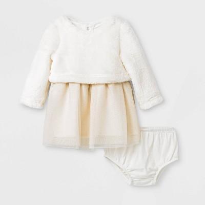 Baby Girls' Faux Fur Tulle Dress Set - Cat & Jack™ Cream 0-3M