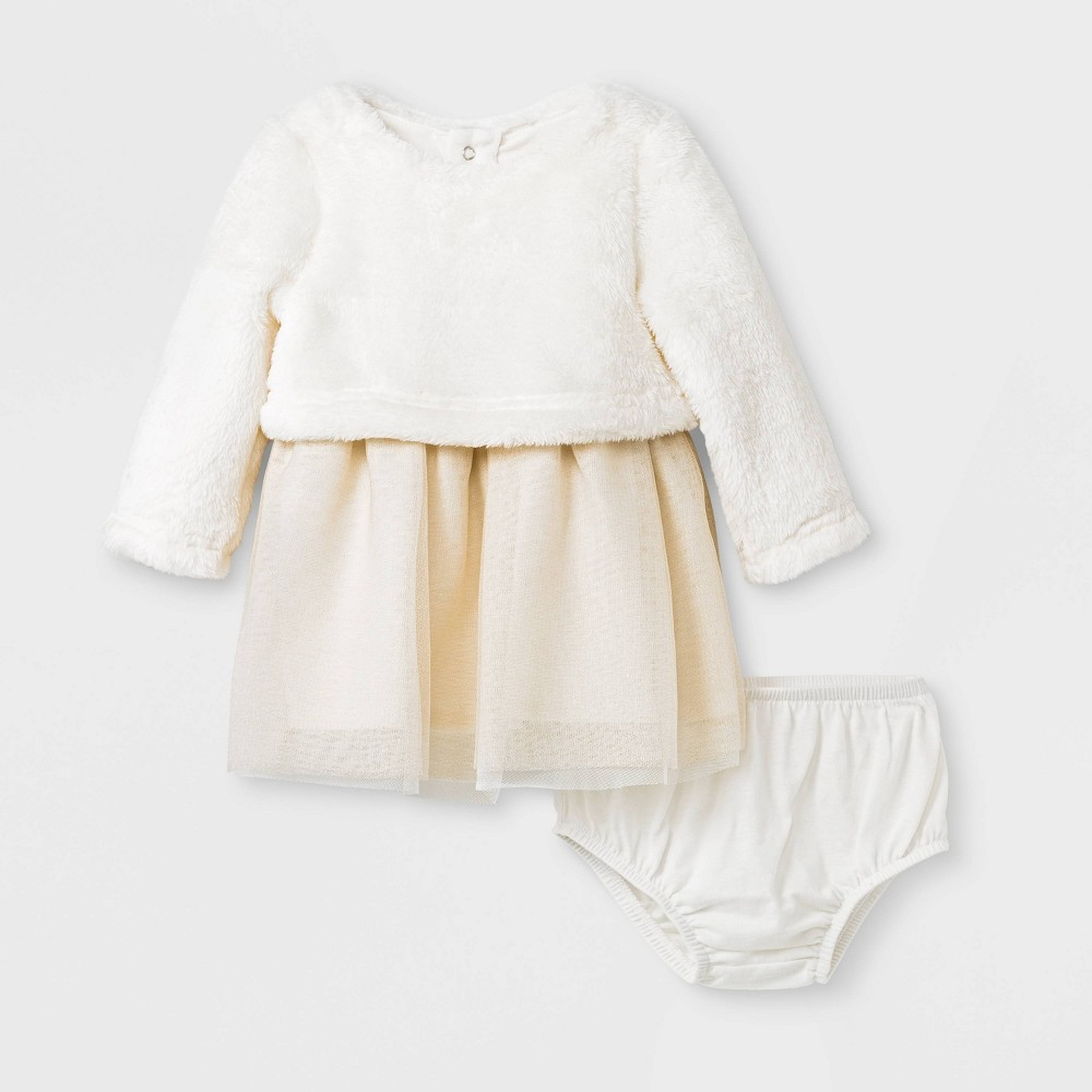 Image of Baby Girls' Faux Fur Tulle Dress Set - Cat & Jack Cream 0-3M, Girl's, White