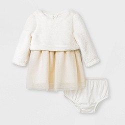 Baby Girls' Faux Fur Tulle Dress Set - Cat & Jack™ Cream