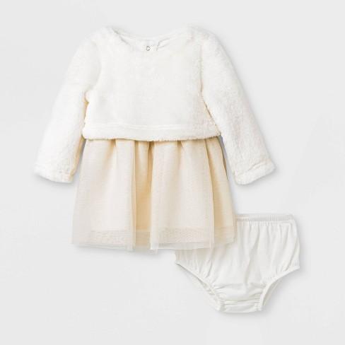 Baby Girls' Faux Fur Tulle Dress Set - Cat & Jack™ Cream - image 1 of 2