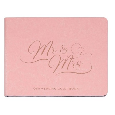 Paper Junkie Mr & Mrs Wedding Guest Sign in Registry Reception Book, Pink with Gold Foil, 64 Sheets, 6 x 8 in
