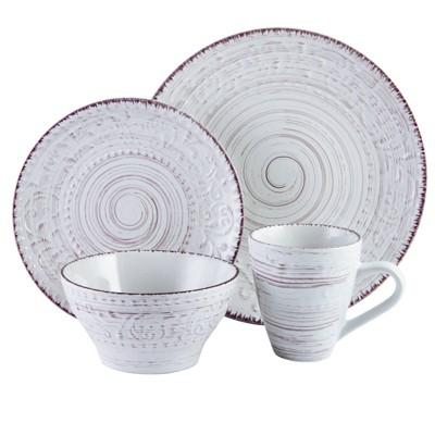 16pc Stoneware Tropical Breeze Dinnerware Set White- Elama
