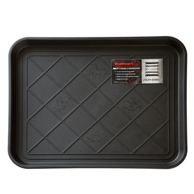"Stalwart 2""x6"" All Weather Boot Tray with Water Resistant Plastic Utility Shoe Mat for Indoor and Outdoor Black"