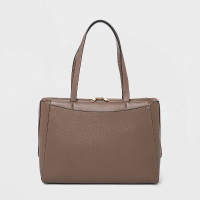 Zip Closure Tote Handbag - A New Day™ Taupe