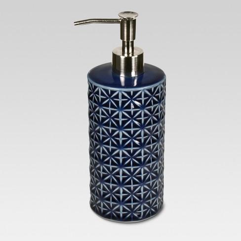 glazed geo ceramic lotionsoap dispenser blue threshold - Bathroom Soap Dispenser