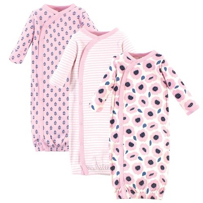 Touched by Nature Baby Girl Organic Cotton Kimono Long-Sleeve Gowns 3pk, Blossoms
