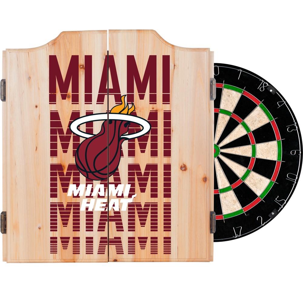 NBA Miami Heat Dart Cabinet Set with Darts and Bristle Dart Board