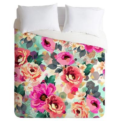 Pink Marta Barragan Camarasa Abstract Geometrical Flowers Duvet Cover Set (Queen) - Deny Designs