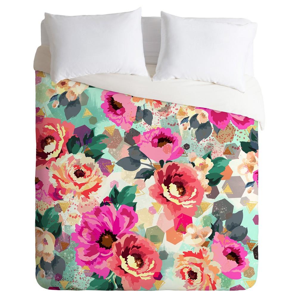 Pink Marta Barragan Camarasa Abstract Geometrical Flowers Duvet Cover Set (King) - Deny Designs