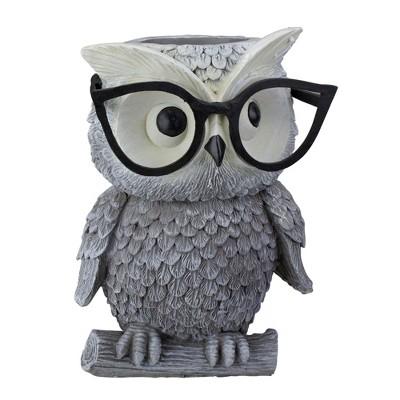 """Roman 9.25"""" Owl Spring Outdoor Patio Garden Planter - Gray"""