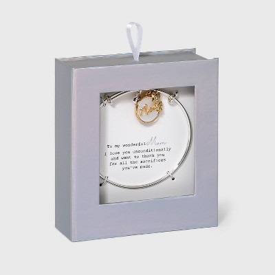 """Stainless Steel """"Mom"""" Pearl Cubic Zirconia Charm Bracelet - Gold"""