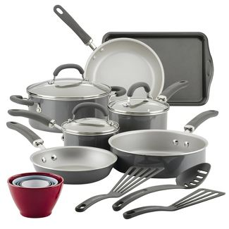Rachael Ray Create Delicious 18pc Aluminum Nonstick Cookware Set Gray Shimmer