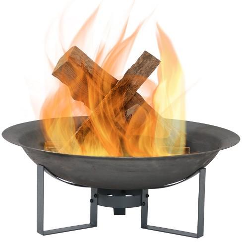 Modern 23 Cast Iron Wood Burning Fire Pit Round Sunnydaze Decor