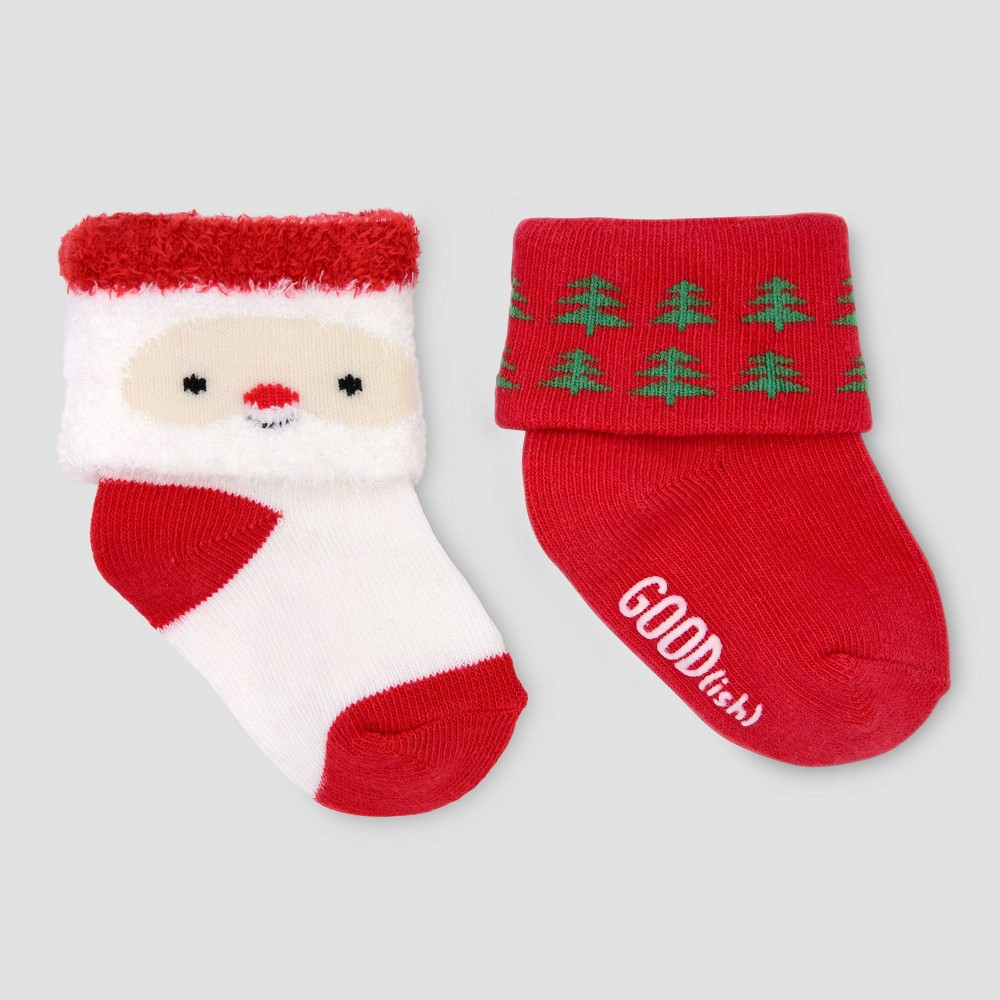 Image of Baby 2pk Christmas Crew Socks - Just One You made by carter's Red/White 0-6M, Kids Unisex