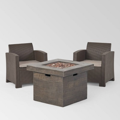 Bedrock 3pc Faux Wicker Chat Set with Fire Pit - Brown/Beige - Christopher Knight Home