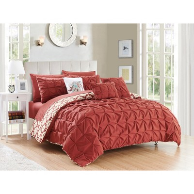 King 10pc Yabin Bed In A Bag Comforter Set Brick - Chic Home