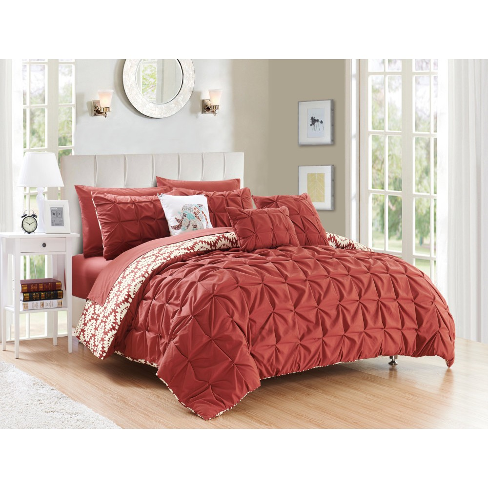 Twin 8pc Yabin Bed In A Bag Comforter Set Brick - Chic Home