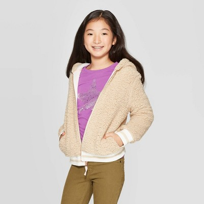 Girls' Long Sleeve Sherpa Bear Hoodie   Cat & Jack™ White by Cat & Jack