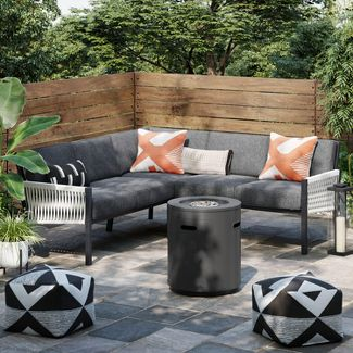Lunding 3pc Sectional Fire Patio Conversation Set Charcoal - Project 62™
