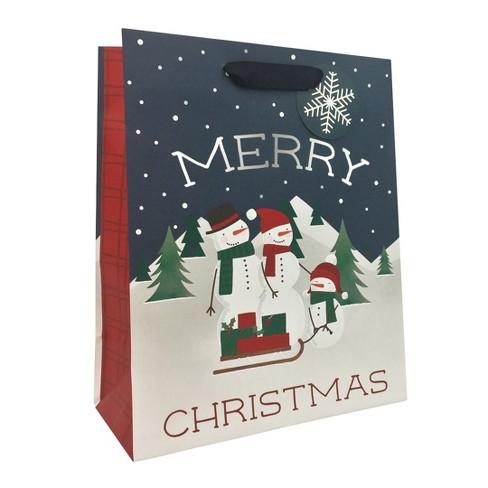 Merry Christmas Snowman Family Gift Bag Navy - Wondershop™ - image 1 of 1